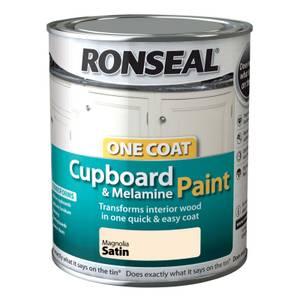 Ronseal One Coat Cupboard & Melamine Paint Magnolia Satin - 750ml