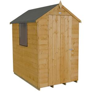 6x4ft Forest Golden Brown Shiplap Apex Wooden Shed