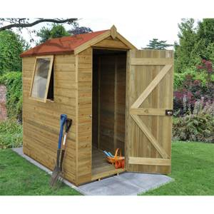 6x4ft Forest Natural Timber Tongue & Groove Apex Wooden Shed