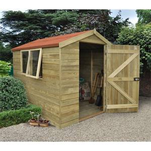 8x6ft Forest Natural Timber Tongue & Groove Apex Wooden Shed