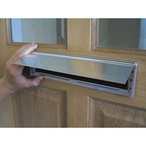 Stormguard Internal Letter Box Plate with Flap Draught Excluder - Chrome Effect
