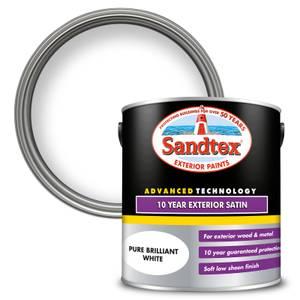 Sandtex Exterior 10 Year Satin Paint - Pure Brilliant White - 2.5L
