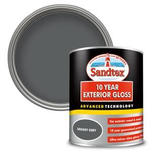 Sandtex Exterior 10 Year Gloss Paint - Smokey Grey - 750ml