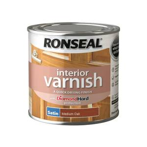 Ronseal Interior Varnish Satin Medium Oak - 250ml