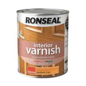 Ronseal Interior Varnish Gloss Medium Oak - 750ml