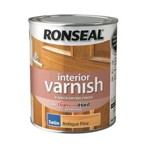 Ronseal Interior Varnish Satin Antique Pine - 750ml