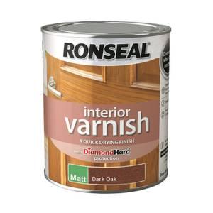 Ronseal Interior Varnish Matt Dark Oak - 750ml