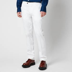 Canali Men's Cotton Silk Stretch Chinos - White