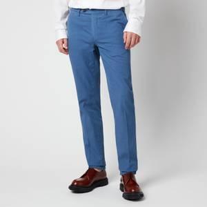 Canali Men's Cotton Silk Stretch Chinos - Mid Blue