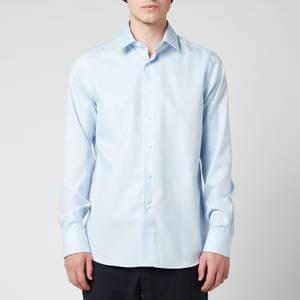 Canali Men's Point Collar Cotton Twill Slim Fit Shirt - Light Blue