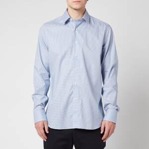 Canali Men's Micro Cotton Slim Fit Shirt - Mid Blue