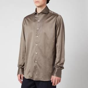 Canali Men's Cotton Jersey Cut Away Shirt - Mink