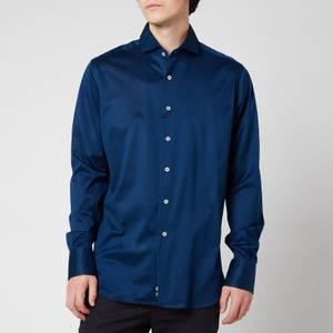 Canali Men's Cotton Jersey Cut Away Shirt - Navy Blue