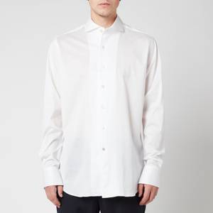 Canali Men's Cotton Jersey Cut Away Shirt - White