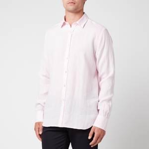 Canali Men's Linen Regular Fit Shirt - Pink