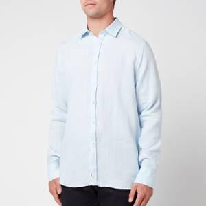 Canali Men's Linen Regular Fit Shirt - Light Blue