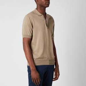 Canali Men's Suede Trim Polo Shirt - Khaki