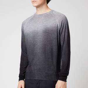 Canali Men's Wool Silk Fade Crewneck Jumper - Grey