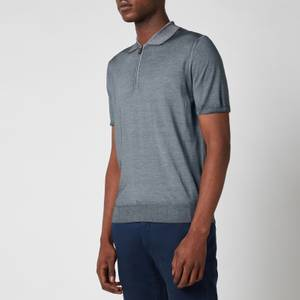 Canali Men's Wool Silk Fine Gauge Half Zip Polo Shirt - Grey