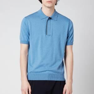 Canali Men's Wool Silk Fine Gauge Half Zip Polo Shirt - Light Blue