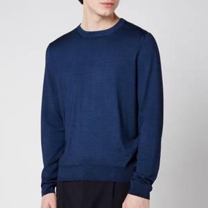 Canali Men's Cotton Crewneck Long Sleeve Top - Navy Blue