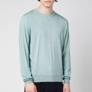 Canali Men's Cotton Crewneck Long Sleeve Top - Mint