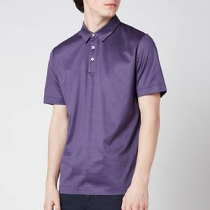 Canali Men's Jersey Button Up Polo Shirt - Purple