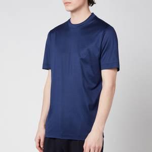 Canali Men's Double Collar Crewneck T-Shirt - Navy