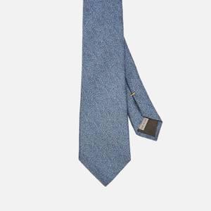 Canali Men's Fuzz Pattern Silk Tie - Mid Blue