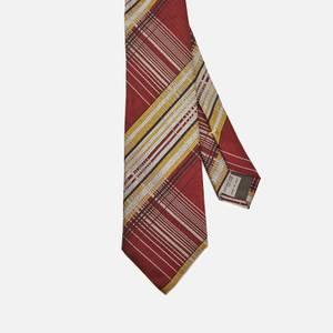 Canali Men's Stripe Contrast Silk Tie - Red