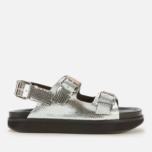 Isabel Marant Women's Ophie Metallic Leather Double Strap Sandals - Silver