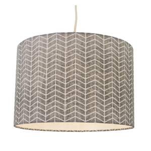 Hadley Herringbone Geometric Printed Lamp Shade - Grey