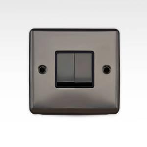 Arlec Metal Screwed 10 Amp 2 Gang 2 Way Switch Black Nickel
