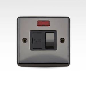 Arlec Metal Screwed 13 Amp Switched Fuse Connection Unit with Neon Black Nickel