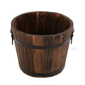 Wooden Barrel Plant Pot - 36cm