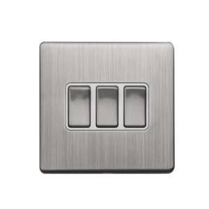 Arlec Metal Screwless 10 Amp 3 Gang 2 Way Switch Stainless Steel