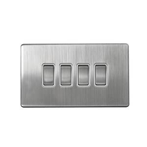 Arlec Metal Screwless 10 Amp 4 Gang 2 Way Switch Stainless Steel