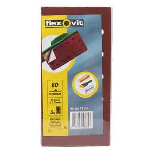 Flexovit PTA Sanding Sheets 1/2 Punched - 115 x 230mm - 80 Grit