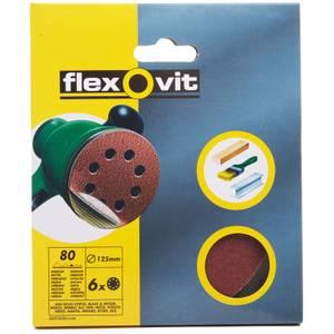 Flexovit Eccentric 80G Sanding Discs - 125mm - 6 Pack