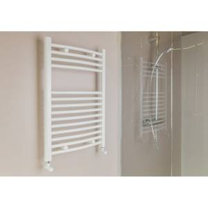White Straight Heated Towel Rail - 750 x 500mm