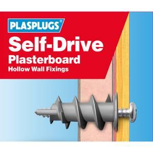 Plasplugs Self Drive Fixings Clip Pack Drill Driver x 50