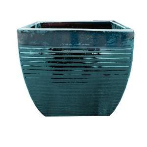 Helix Square Planter in Forest Green - 35cm