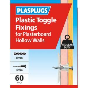Plasplugs Standard Plasterboard Toggle x 60