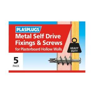 Plasplugs Metal Self Drive & Screws x 5