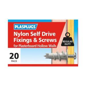 Plasplugs Nylon Self Drive & Screws x 20