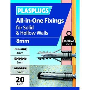 Plasplugs 8mm Multi Purpose Fixings x 20