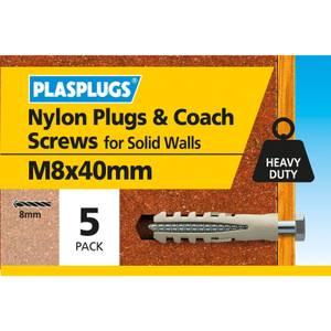 Plasplugs Nylon plug and M8 Coach Screws x 5