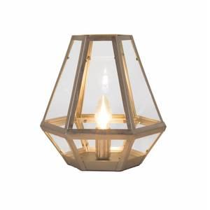 Metal and Glass Lantern Table Lamp - Satin Nickel