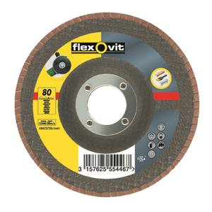 Flexovit 63642527526 Angle Grinder Flap Disc - 115m x 22mm - 80G