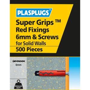 6mm Sgrips Red Fixings & Screws 500 Pk
